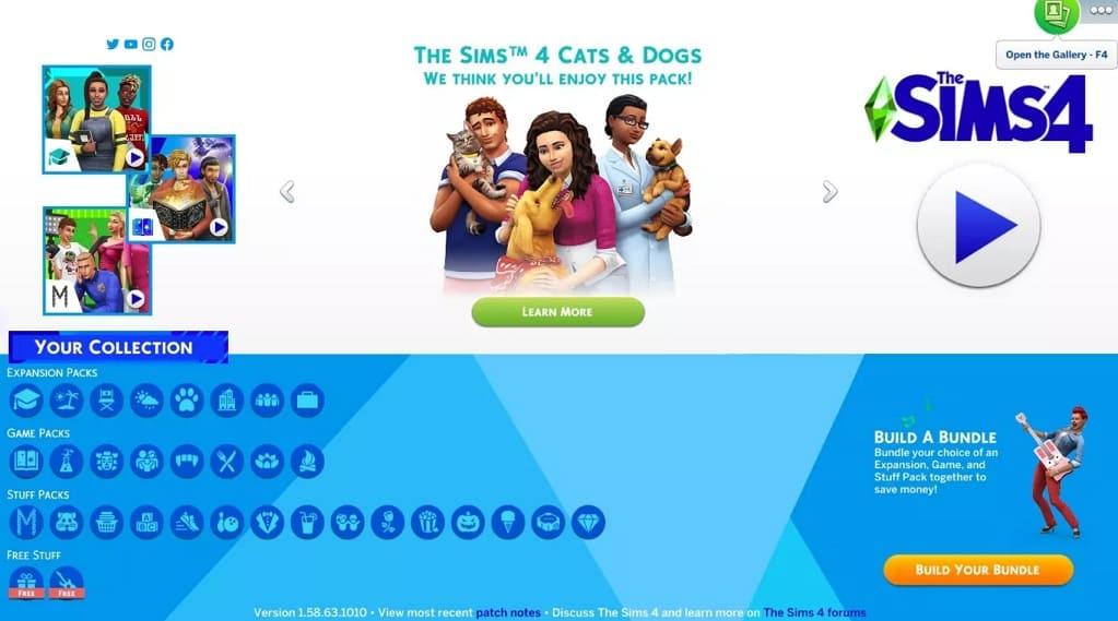 abrir galería en Sims 4