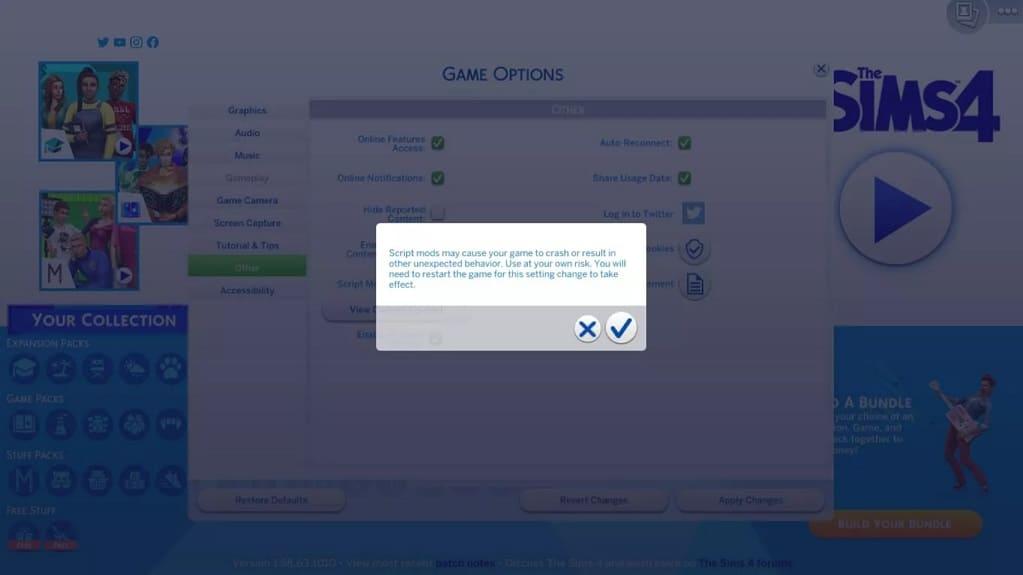 aviso en Sims 4