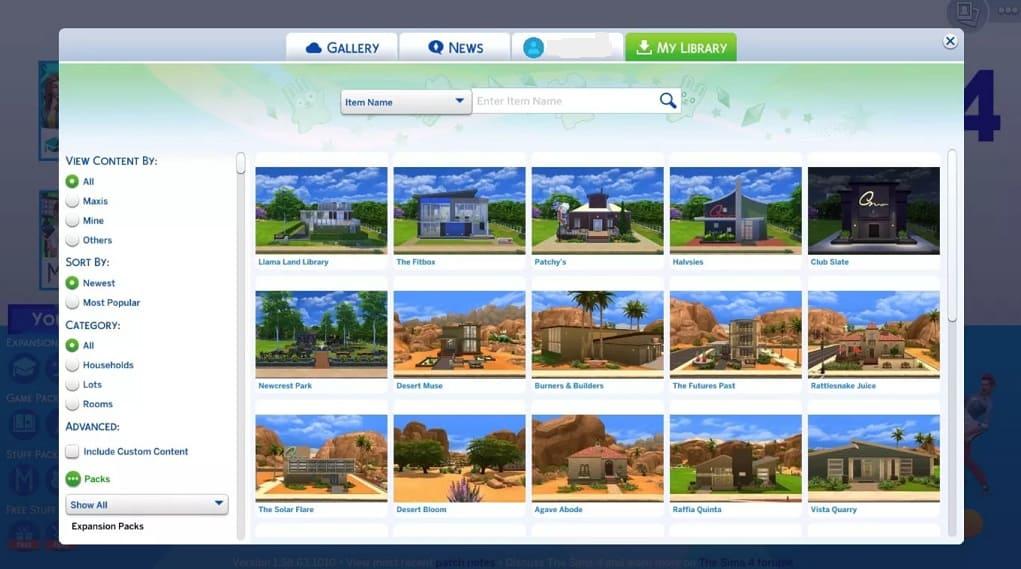 contenido en librería Sims 4