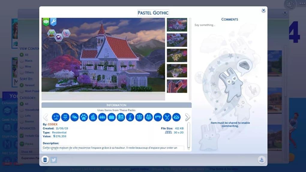elegir contenido modificable en Sims 4