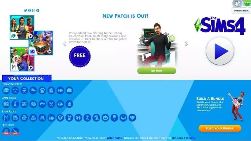menu de opciones Sims 4
